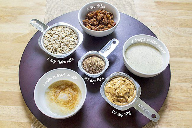 Recipe: PB and Fruit Protein Balls1 cup dried fruit (I used dates - seeds removed and pulsed in food processor) ½ cup natural peanut butter 1 cup large flake oats (not instant) ¼ cup ground flax 2 scoops vanilla protein powder 1 tsp pure vanilla extract 3 Tbsp unsweetened vanilla almondmilk