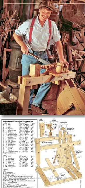 Foot Powered Lathe and Scroll Saw Plan - Lathe Tips, Jigs and Fixtures | WoodArchivist.com #woodworkingplans