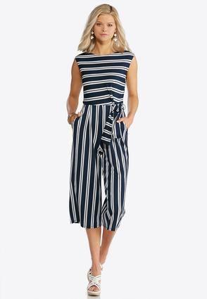 12e1c2f98e65 Cato Fashions Navy Stripe Tie Waist Jumpsuit  CatoFashions Cato Fashion Plus  Size