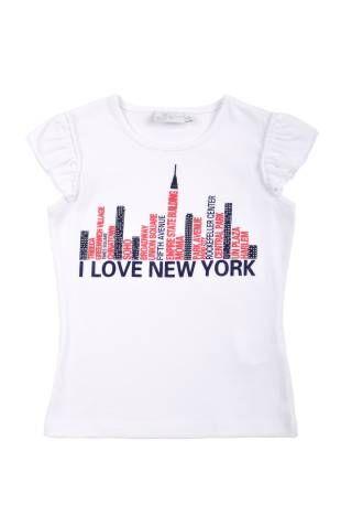 Camiseta para niña, en color blanco. Al frente estampado alegorico a NY, en colores azul oscuro y rojo.