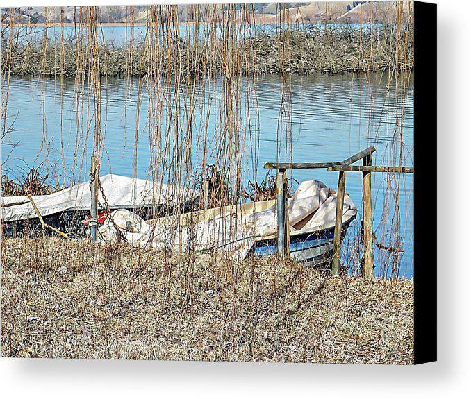 Moored Boats Lago Di Chiusi Canvas Print by Dorothy Berry-Lound.  #boats #lagodichiusi #tuscany
