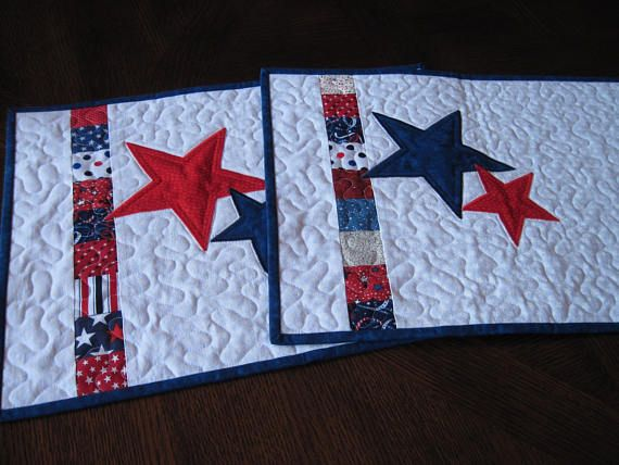 Patriotic Stars Quilted Placemats Red White Blue Placemats With Appliqued Stars Blue Placemats Place Mats Quilted Star Quilt