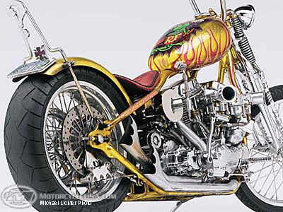 This might be my favorite motorcycle.  Indian Larry built it and Robert Pradke of Custom Auto Design (a fan of Big Daddy Roth) painted it, including the Rat Fink on the tank.