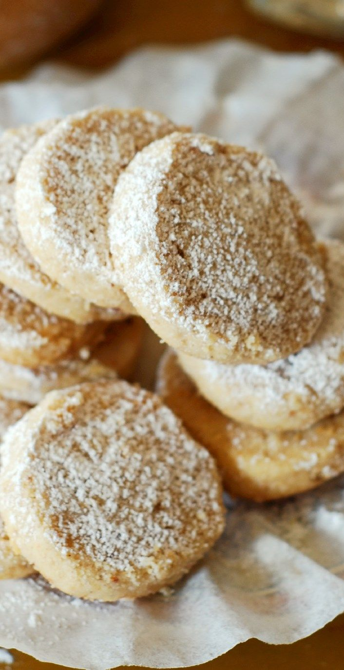Hazelnut shortbread cookies. Only 4 ingredients! Crumbly, buttery, melt-in-your-mouth shortbread, with a distinctive hazelnut flavor. Great recipe for the Holidays!