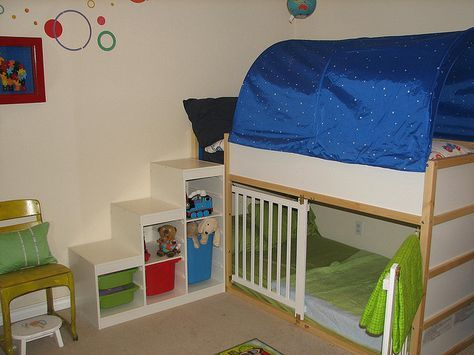 ikea loft bed + crib sides cut out to use as gate on bottom for E...trofast shelves as steps and storage.......I love this
