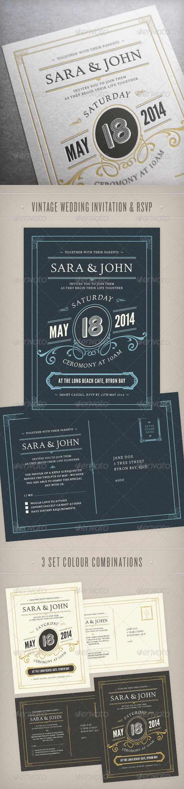 Wedding Invitation - Weddings Cards & Invites  Vintage wedding invitation and RSVP in 3 colour combinations #wedding #invite