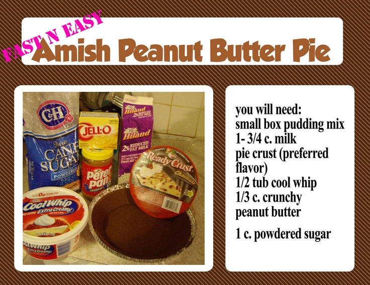 Amish Peanut Butter Pie ~ Need to try this! Finally a peanut butter pie recipe withOUT cream cheese!!