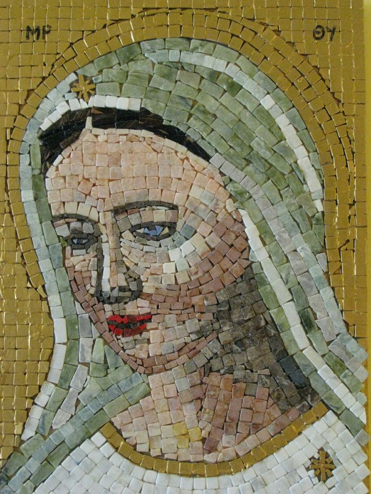 Virgin Mary: marbel & gold paint mosaic by Rely