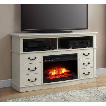 Better Home and Gardens Media Fireplace Console for TV's up to 70 inch, White