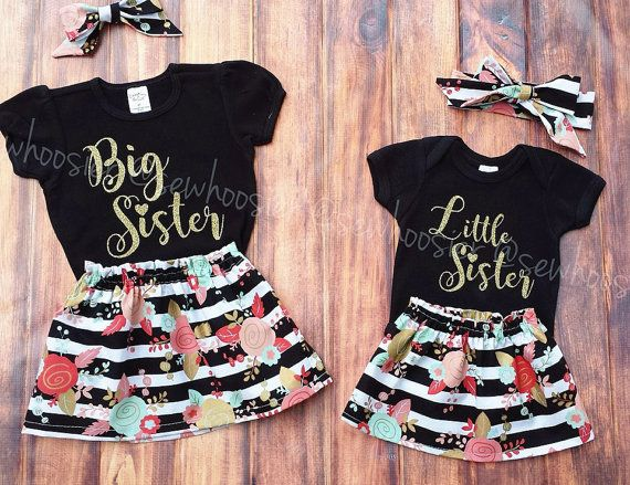 Big sister, Little Sister outfits. Black and gold. Pregnancy announcement. Sibling outfits. Sisters. Made by Sew Hoosier.   https://www.etsy.com/listing/467601029/big-sister-little-sister-outfits-sister