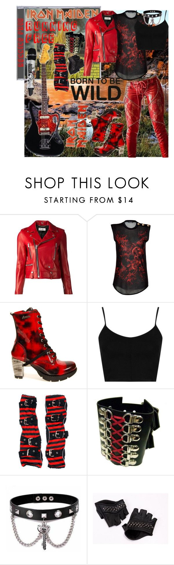 """""""Iron Maiden ~ Running Free"""" by xx-black-blade-xx ❤ liked on Polyvore featuring Yves Saint Laurent, Balmain, Vision, Topshop, Trend Cool and Skingraft"""
