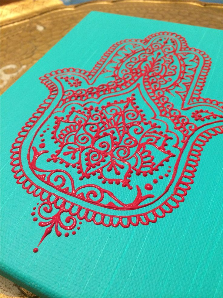 Red acrylic on turquoise canvas hamsa design by Henna on Hudson. Posting a new canvas just like this one in my Etsy shop. I've ahad a lot of requests for this design. https://www.etsy.com/shop/HennaOnHudson
