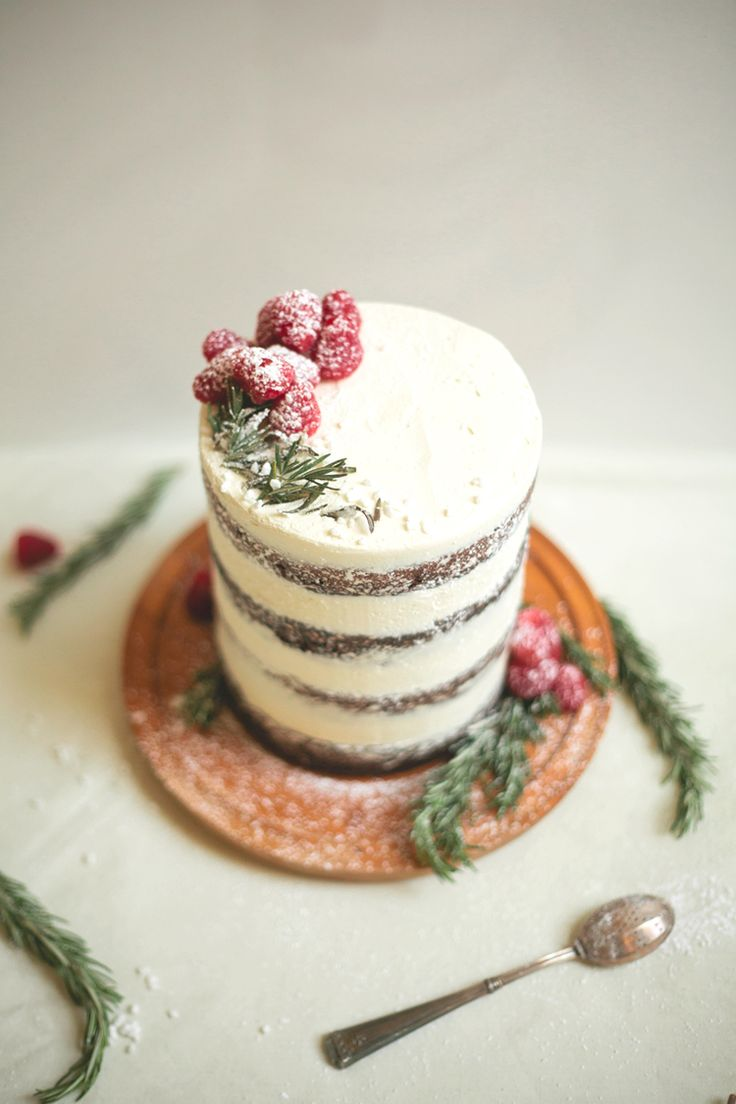 cute & quaint... chocolate tahini cake with rosemary buttercream ...