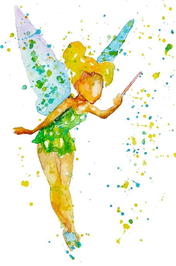 Disney Tinkerbell Watercolor Art Print Tinker Bell Wall Art Peter