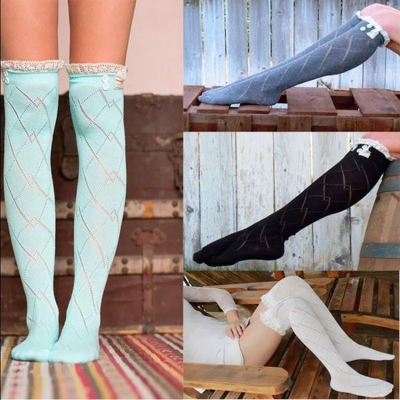 6 Pairs of Knee High Boot Socks w/Beige Lace Trim This listing is for 6 Pairs of Sexy Knee High Boot Socks with Beige Lace! Made from soft, breathable materials, these socks are a must have to your wardrobe. Available Colors: Black, Dark Gray, Light Gray, Cream, Pink and Aqua. Give your ordinary outfit that extra something with a pair of these socks! Please leave me a comment with the colors you would like before or after payment is made. Accessories Hosiery & Socks