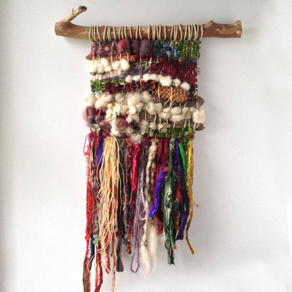 Bohemian Chic Woven Wall Hanging with Reclaimed Sari Silk Ribbon, Woven Wall…