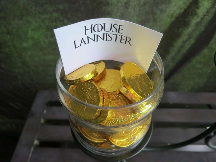 Candy Bar: House Lannister = Chocolate Gold Coins   Epic Game of Thrones Nameday Celebration   Catch My Party