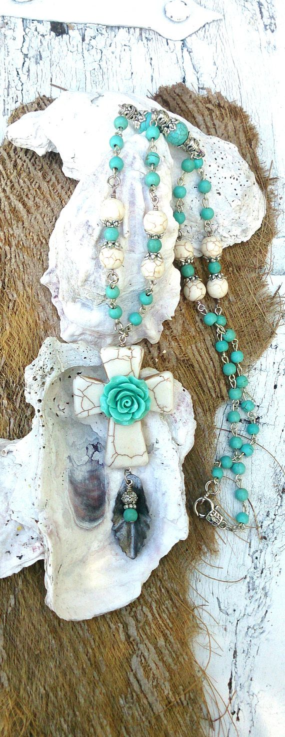 Turquoise Cross Necklace Stone Cross Cross by SecretStashBoutique