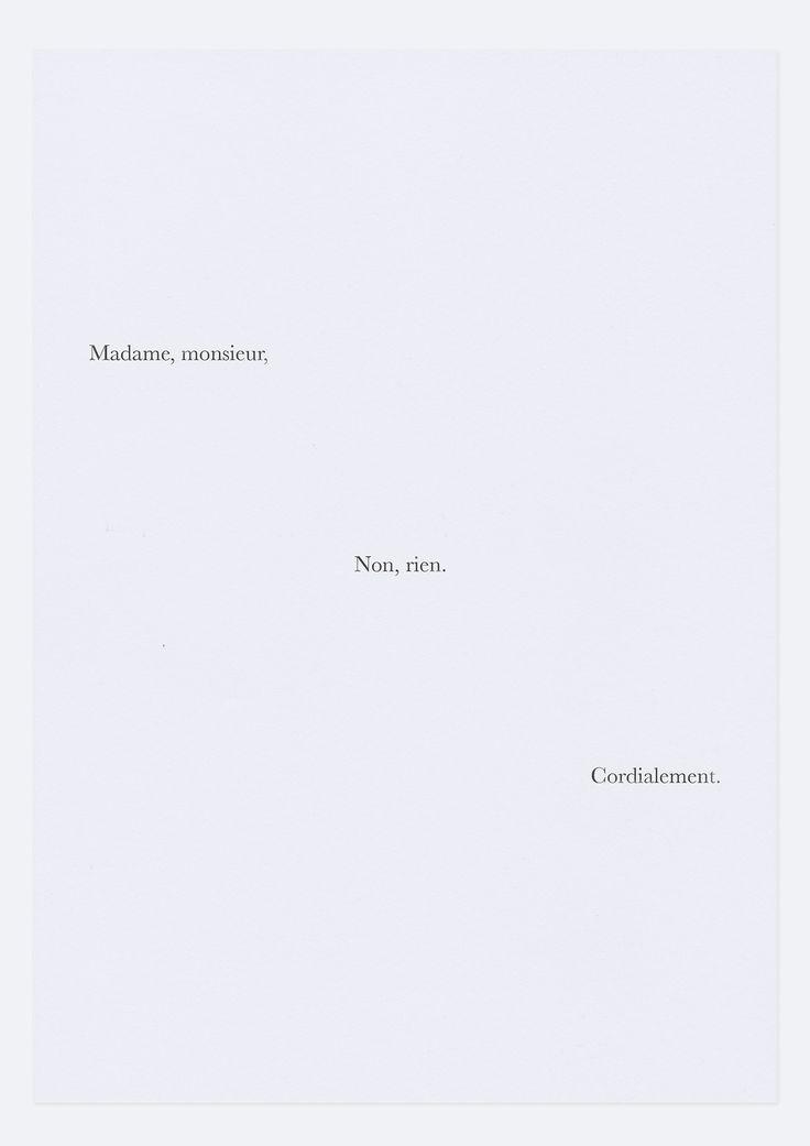 Madame, Monsieur, Non rien. Cordialement. #politesse
