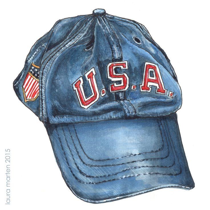 small watercolor of a Ralph Lauren USA baseball cap