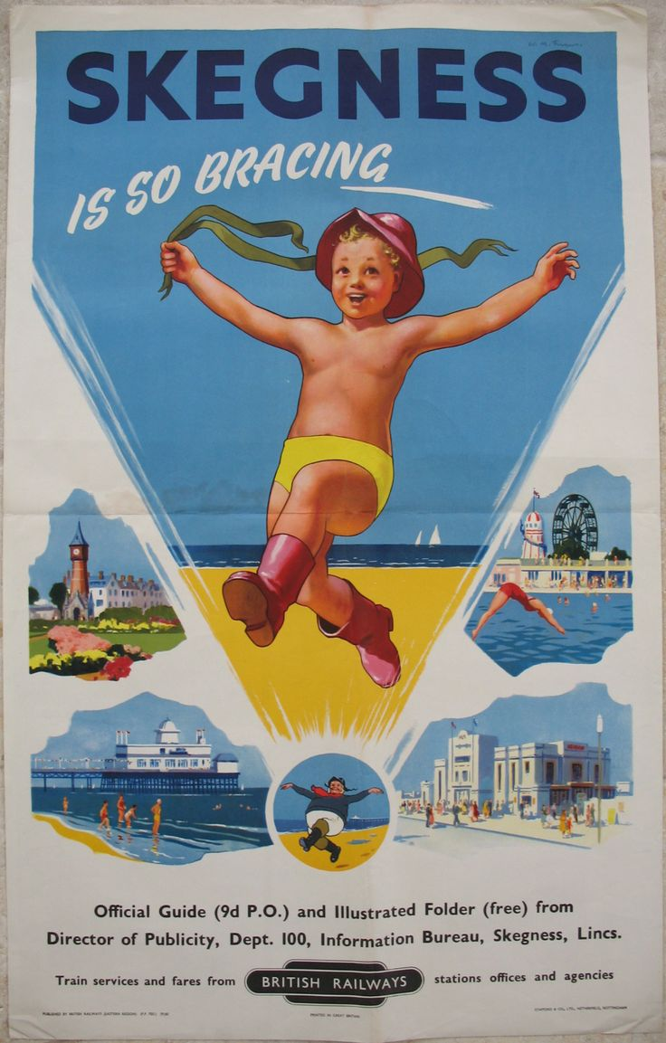 Original Railway Poster Skegness Is So Bracing, by Wilfred Fryer. Available on originalrailwayposters.co.uk