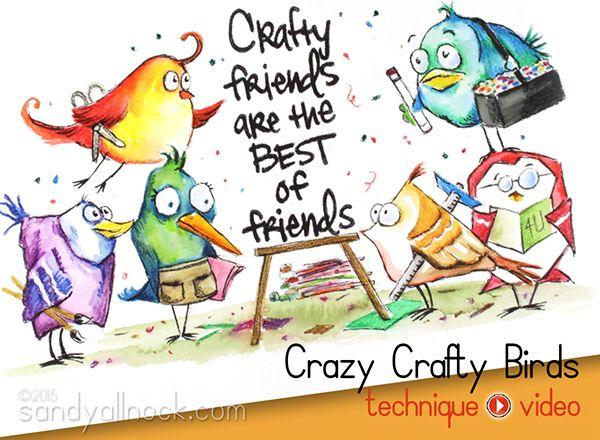 Sandy Allnock - Bird Crazy Stamps - Crafty Friends using the Tim Holtz crazy birds stamp; Mar 2015