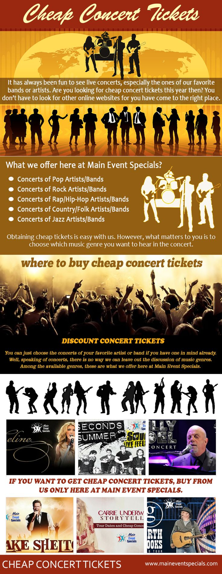 Concerts are a vital part of everyone's life. Check this link right here http://maineventspecials.com/cheap-concert-tickets/ for more information on cheap tickets for concerts. All of us have different preferences and all of us like some bands or singers. Whenever a concert is in town, people rush to buy tickets. With the help of the internet, there are many great deals out there; therefore, you can buy cheap tickets for concerts. Follow us http://start.me/p/VRjdv5/adele-tour-2016