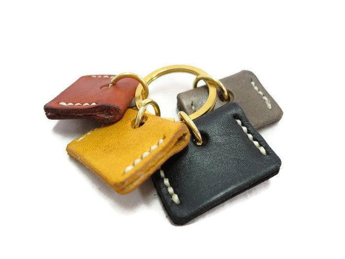 Multicolor Leather key cover with Solid brass  key ring / Vegetable tanned leather key cover- Key holder - Keyring - Key cover by PTagsShop on Etsy