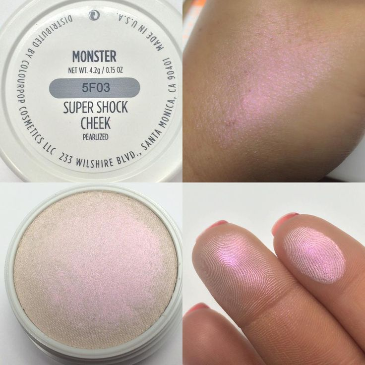 "ColourPop @colourpopcosmetics Highlighter ""Monster"" – light pink with opalescent duo chrome finish. --- Pink Iridescent. I love it. The color looks like L'Oreal Infallible Eyeshadow, Limited Edition ""Strawberry Blonde"". #face #makeup"