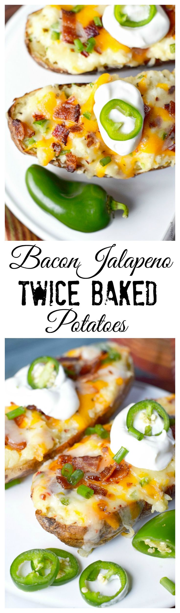 This Bacon Jalapeno Twice Baked Potato recipe is stuffed with cheesy goodness, spicy jalapenos and crispy bacon.