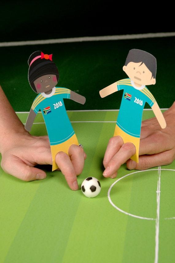 Gefunden auf #Etsy: Fussballspaß für Kinder mit Fingerpuppen aus Pappe #EM2016 #Fußball