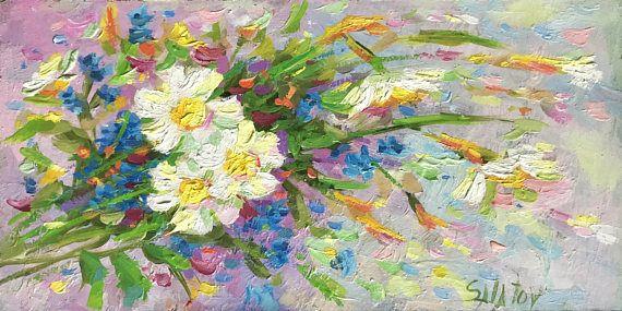 Flowers Original small Oil painting 6x12 field flowers fine