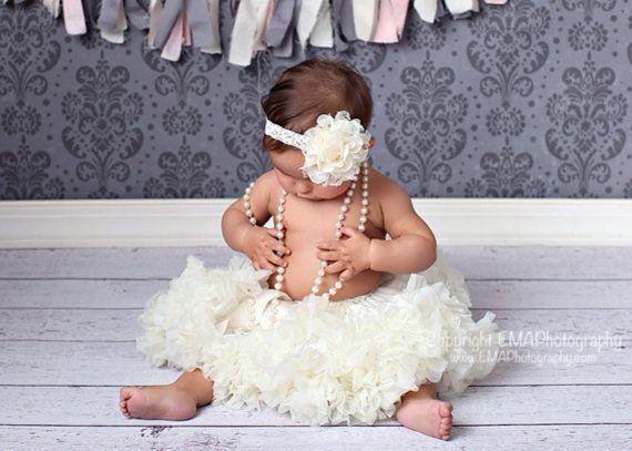 Baby Headband Ivory Headband FLower Girl by CutieCoutureCo on Etsy