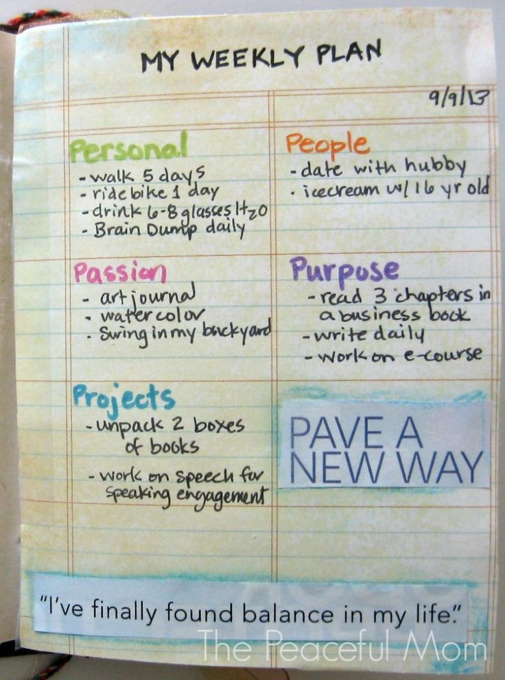 Get Organized! My Weekly Plan 9-9-2013--The Peaceful Mom...love this...love the balance and writing in the relationship, things you love to do etc