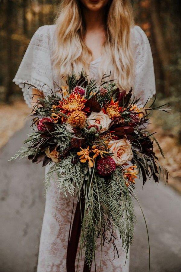 boho chic fall wedding flowers