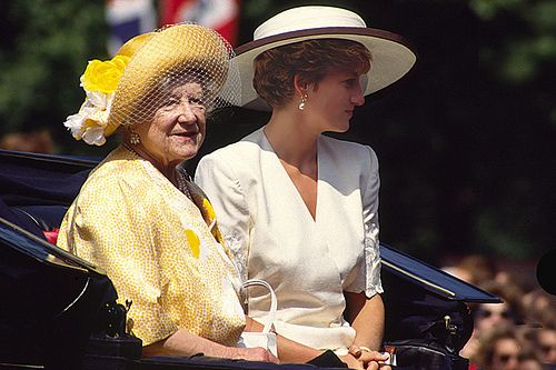 June 13, 1992:  Queen Mother & Princess Diana riding in an open carriage to watch the ceremony of Trooping the Colour in London.