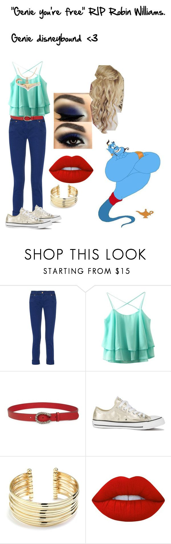 """""Genie you're free"" RIP Robin Williams.   Genie disneybound  <3"" by atl-rock-chick-r5 ❤ liked on Polyvore featuring Roberto Cavalli, Gucci, Converse, Belk Silverworks and Lime Crime"
