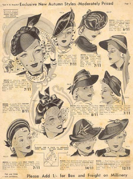 vintage inspiration hats 30s catalogue illustration women style