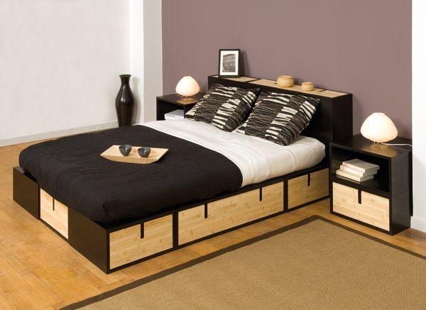 Espace loggia lit mezzanine podium brick bambou ferme sofa canape meuble cont - Lit mezzanine design ...