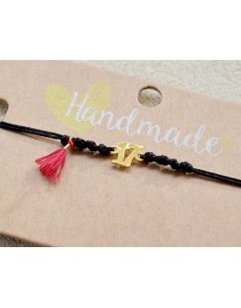 Βραχιόλι Lucky Charm Red Tassel & Black Cord