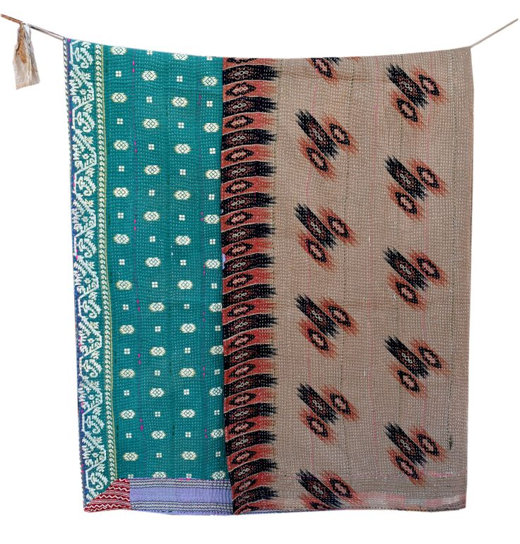 Reversible Cotton Kantha Quilt Sari Throw Bed Cover Blanket Vintage Handmade Cotton Kantha Quilt twin Size by JaipurHometextiles on Etsy