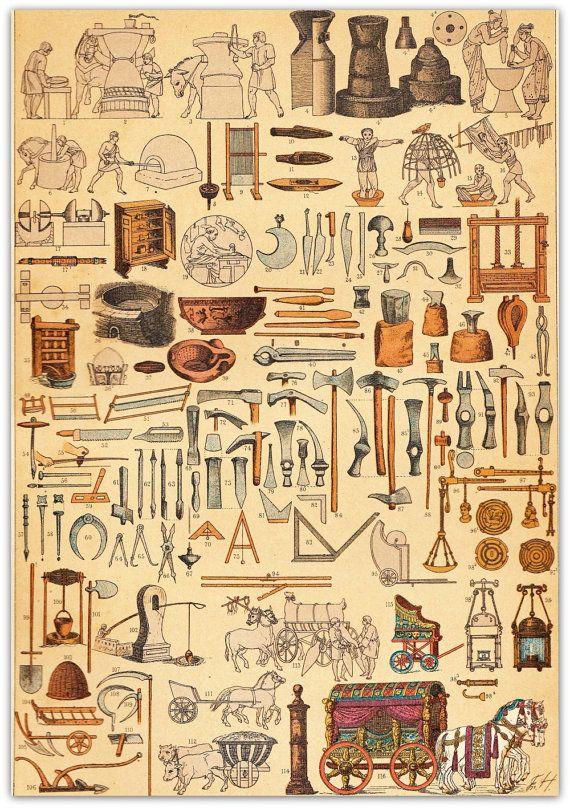 AntiqueChromolithograph Roma antigua máquinas utensilios herramientas vehículos 1894