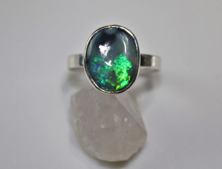 Opal Ring, Australian Opal, black Opal, sterling silver ring, rough opal, raw opal, by SagesLeaf on Etsy https://www.etsy.com/ca/listing/508345720/opal-ring-australian-opal-black-opal