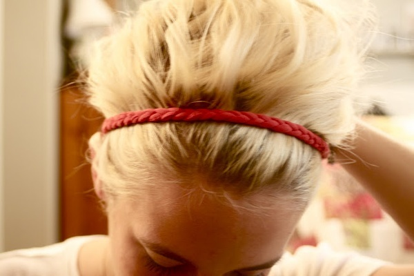 DIY headband- made out of an old T-shirt.  Also make rings, scarfs, bracelets.. etc.