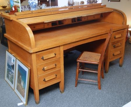 6u0027 Golden Oak Antique Desk