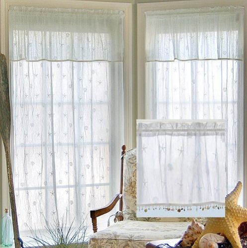 Beach Cottage Sheer Curtain Panels Cottage Shabby