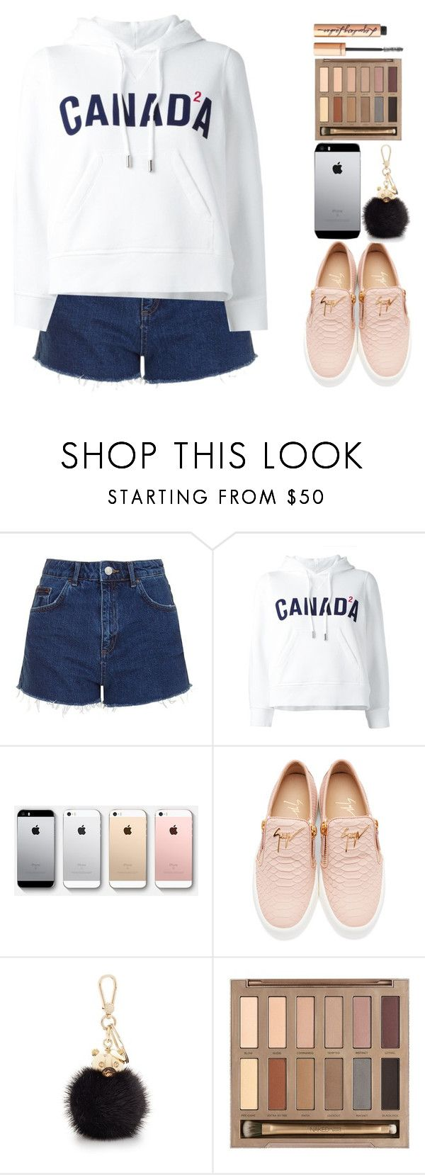 """Canada!!!"" by uniicorns-taking-over ❤ liked on Polyvore featuring Topshop, Dsquared2, Giuseppe Zanotti, Furla, Urban Decay and Charlotte Tilbury"