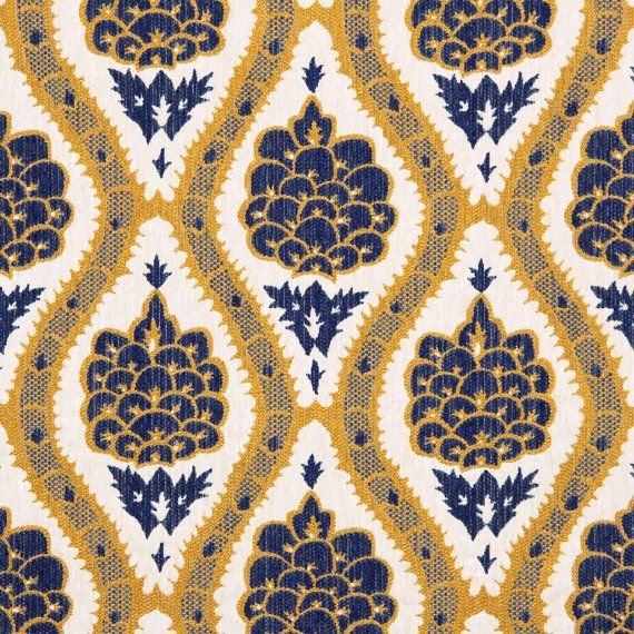 A contemporary upholstery fabric in a woven and textured floral design of red, navy blue and light ivory. This heavyweight fabric is suitable for all furniture upholstery. Each oval shape including the textured floral design is 14 inches in height. See more suggested usage, additional color links and custom decor options below. This listing is for fabric by the yard.  FABRIC SAMPLES:  Fabric Name for Sample Order: Berwick Order Fabric Swatches Here…