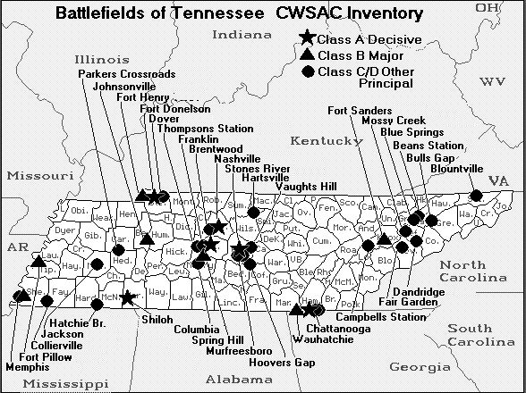 Battlefield sites in Tennessee