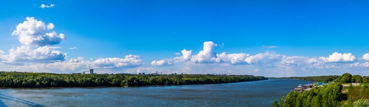 Danube Panorama - Panorama from the Pentele Bridge over the Danube, with the factories of Dunaújváros in the distance.